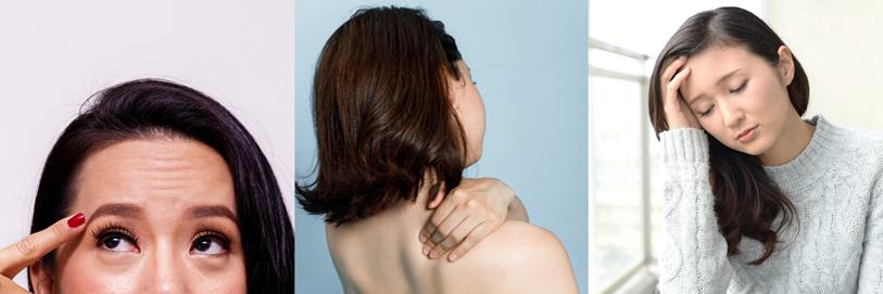 その他にも、眉毛を上げて目を開く必要が無くなるため、額のシワが寄らなくなったり、頭から肩周りに繋がる筋肉の緊張が解かれ、慢性的な肩こりや頭痛にも効果がみられます。