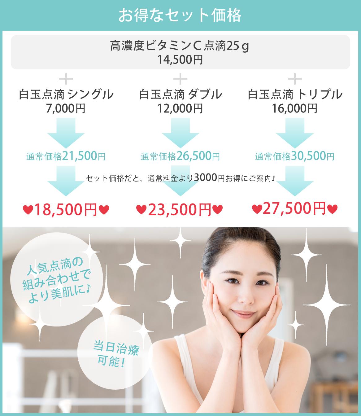 高濃度ビタミンC点滴+白玉点滴のお得なセット価格もございます。セット価格だと、通常料金より3000円お得にご案内♪人気点滴の組み合わせでより美肌に♪当日治療可能!
