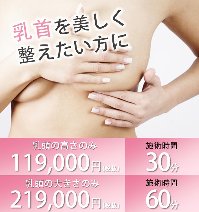 乳首を美しく整えたい方乳頭の高さのみ119,000円施術時間30分乳頭の大きさのみ219,000円施術時間60分